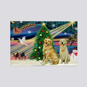 XmasMagic/ 2 Goldens Rectangle Magnet
