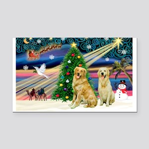 XmasMagic/ 2 Goldens Rectangle Car Magnet