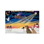 XmasSunrise/3 Greyhounds Rectangle Magnet (10 pack