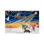XmasSunrise/4 Ital Greyhounds Rectangle Magnet