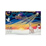 XmasSunrise/Ital Greyhound Rectangle Magnet