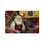 Santa's 2 Black Labs Rectangle Magnet