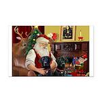 Santa's 2 Black Labs Rectangle Car Magnet