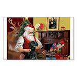 Santa's Black Lab Sticker (Rectangle)