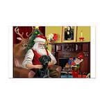 Santa's Black Lab Rectangle Car Magnet