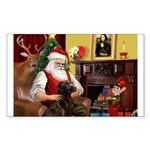 Santa's Chocolate Lab Sticker (Rectangle)