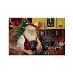 Santa's 2 Black Labs Rectangle Magnet (10 pack)