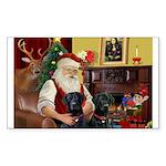 Santa's 2 Black Labs Sticker (Rectangle 10 pk)