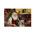 Santa's 2 Labs (Y+B) Rectangle Magnet (10 pack)