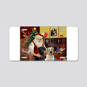 Santa's 2 Labs (Y+B) Aluminum License Plate