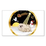 Night Flight/Pekingese Sticker (Rectangle 50 pk)