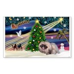 XmasMagic/ Pekingese Sticker (Rectangle 50 pk)