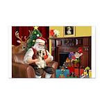 Santa's Petit Basset Rectangle Car Magnet