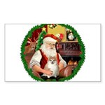 Santa's Pomeranian #1 Sticker (Rectangle)
