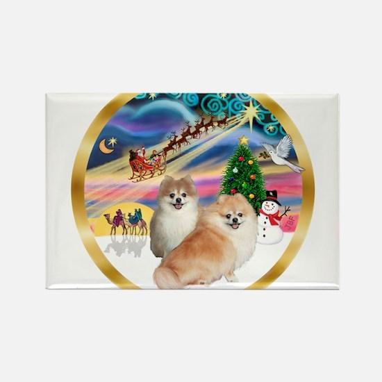 XmasMagic/2 Pomeranians Rectangle Magnet