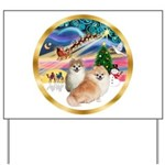 XmasMagic/2 Pomeranians Yard Sign