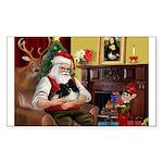 Santa's Pomeranian Sticker (Rectangle)