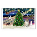 XmasMagic/ Pomeranian Sticker (Rectangle 50 pk)