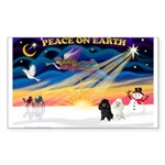 XmasSunrise/2 Poodles Sticker (Rectangle 50 pk)