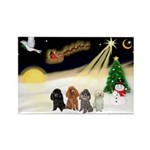 Night Flight/4 Poodles Rectangle Magnet