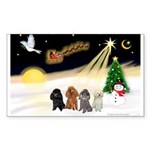 Night Flight/4 Poodles Sticker (Rectangle 50 pk)