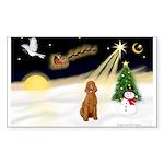 Night Flight/Apricot Poodle ( Sticker (Rectangle)