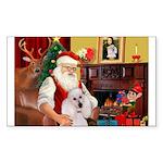 Santa's Std Poodle(w) Sticker (Rectangle 50 pk)