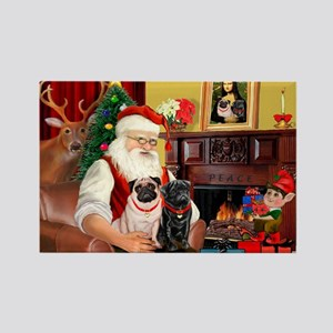 Santa's Two Pugs (P1) Rectangle Magnet