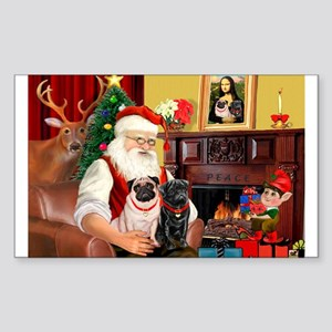 Santa's Two Pugs (P1) Sticker (Rectangle)