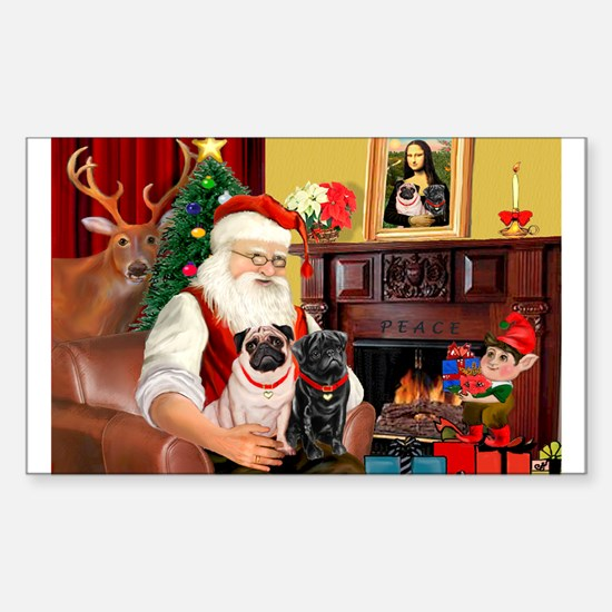 Santa's Two Pugs (P1) Sticker (Rectangle)