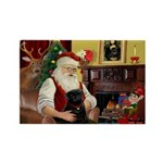 Santa's Black Pug Rectangle Magnet