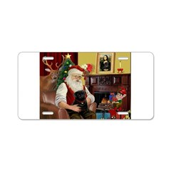 Santa's Black Pug Aluminum License Plate