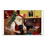 Santa's Black Pug Sticker (Rectangle 50 pk)