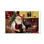 Santa's Black Pug Rectangle Car Magnet