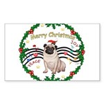 XmasMusic1MC/Pug 11 Sticker (Rectangle 50 pk)