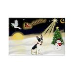 Night Flight/Rat Terrier Rectangle Magnet (10 pack