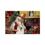 Santa's Samoyed Rectangle Magnet