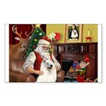 Santa's Samoyed Sticker (Rectangle)