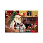 Santa's 2 Schnauzers Rectangle Magnet (10 pack)