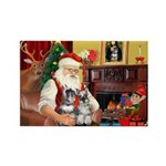 Santa's 2 Schnauzers Rectangle Magnet