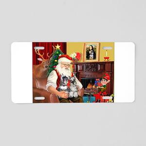 Santa's 2 Schnauzers Aluminum License Plate