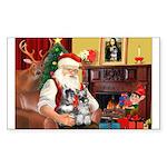 Santa's 2 Schnauzers Sticker (Rectangle 50 pk)