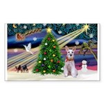 XmasMagic/Min Schnauzer Sticker (Rectangle 50 pk)
