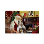Santa / 2 Shelties (dl) Rectangle Magnet