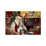 Santa / 2 Shelties (dl) Rectangle Magnet