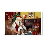 Santa / 2 Shelties (dl) Rectangle Car Magnet