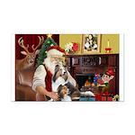 Santa / 2 Shelties (dl) Rectangle Car Magnet