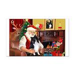Santa's Bi Black Sheltie Rectangle Car Magnet