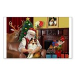 Santa's Sheltie (SW) Sticker (Rectangle)
