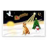 Night Flight/Shiba Inu Sticker (Rectangle 10 pk)